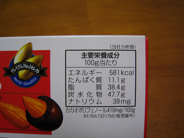 明治 アーモンドチョコレート 成分表示 カロリー