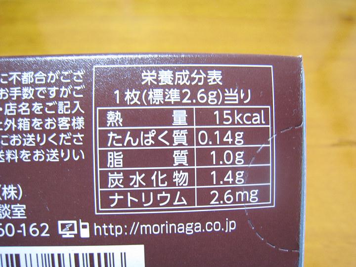 極薄チョコレート 森永製菓 カロリー